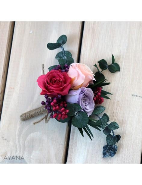 Boutonniere en fleurs stabilisees harmonie