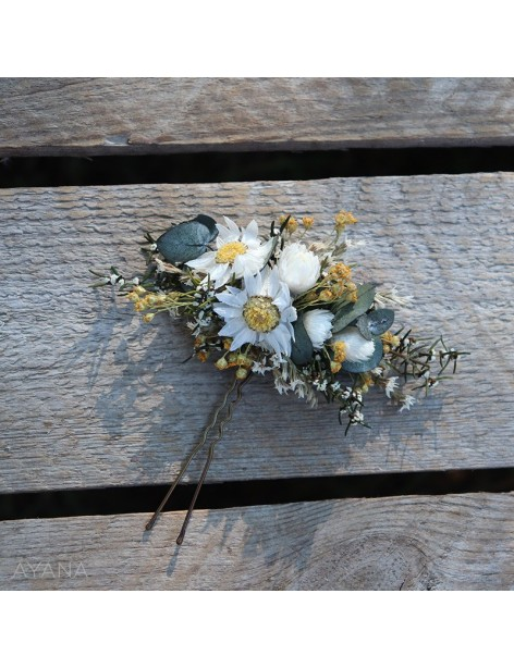 Epingle en fleurs eternelles Roxane