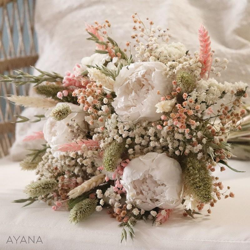 Bouquet Aix fleurs stabilisees rose