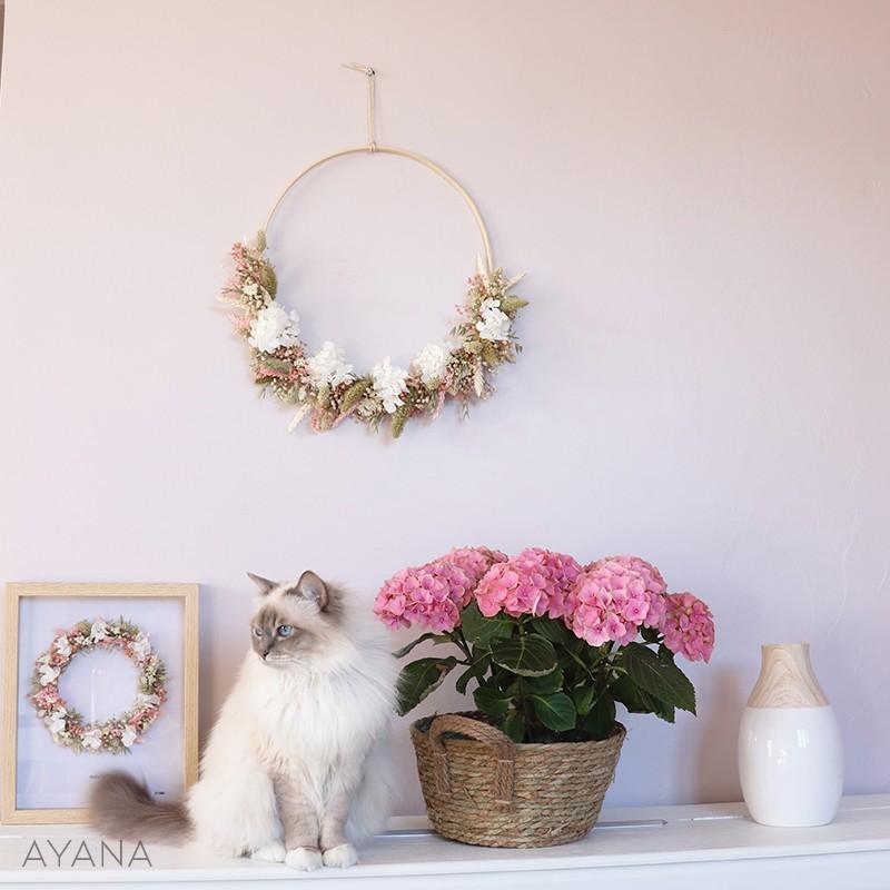 Couronne Aix fleurs stabilisees rose