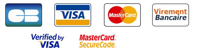 Paiement par Visa, Mastercard, Virement bancaire